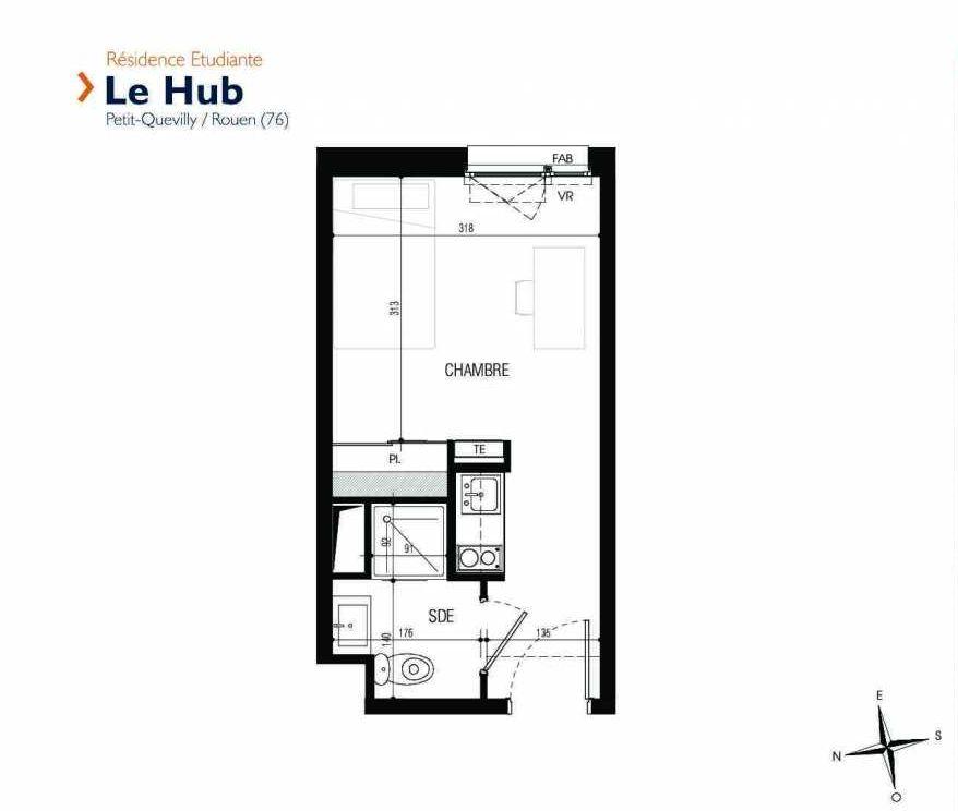 Plan 013, appartement neuf type T1 au Rez de chaussée, faisant 18m² du programme neuf Le Hub à Le Petit-Quevilly.