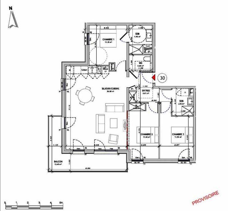 Plan 0130, appartement neuf type T4 au 3ème étage, orienté Sud faisant 90m² du programme neuf Le 321 St Quentin à Amiens.