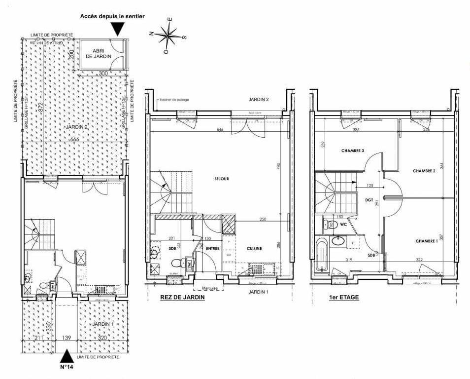 Plan 014, appartement neuf type T4 au Rez de chaussée, orienté Est faisant 83m² du programme neuf BEAU SEJOUR à Tourcoing.