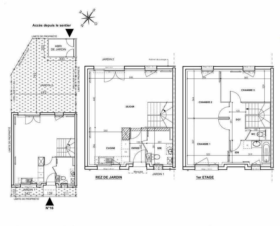 Plan 016, appartement neuf type T4 au Rez de chaussée, orienté Sud faisant 83m² du programme neuf BEAU SEJOUR à Tourcoing.