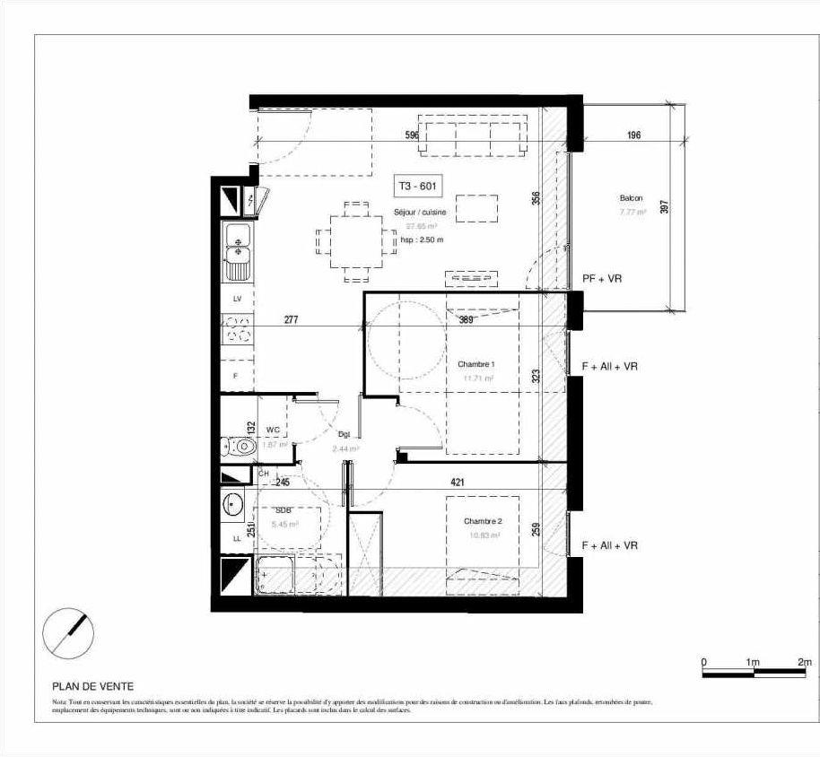 Plan 01601, appartement neuf type T3 au 6ème étage, orienté Nord faisant 60m² du programme neuf Le Picturia à Toulouse.