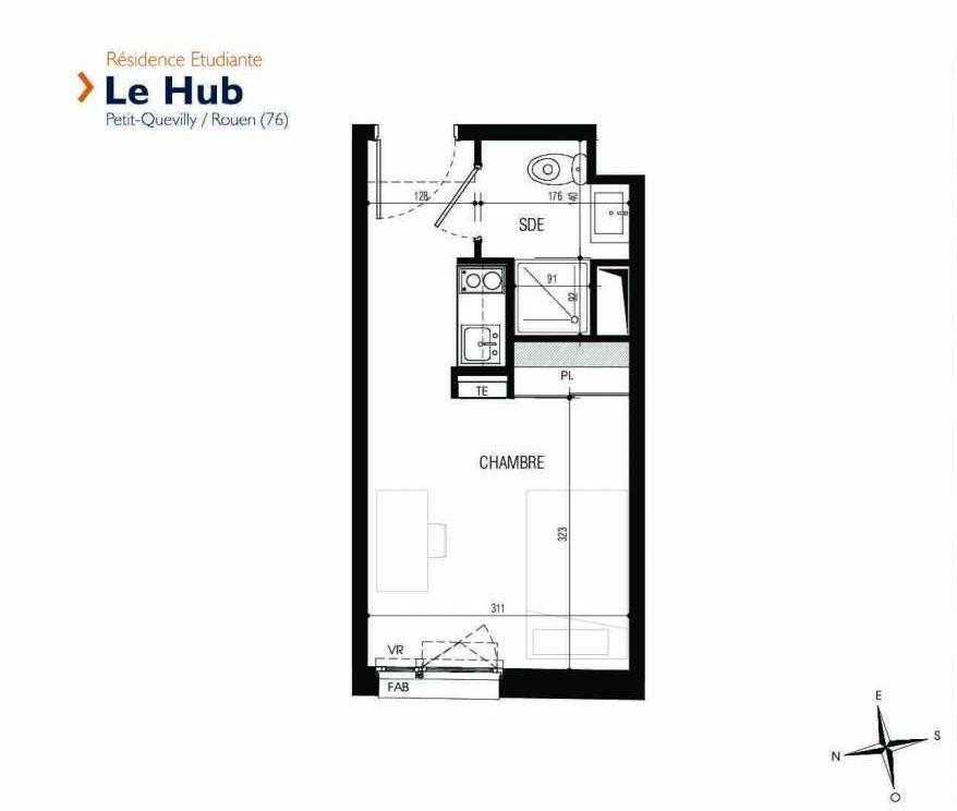 Plan 019, appartement neuf type T1 au Rez de chaussée, faisant 18m² du programme neuf Le Hub à Le Petit-Quevilly.