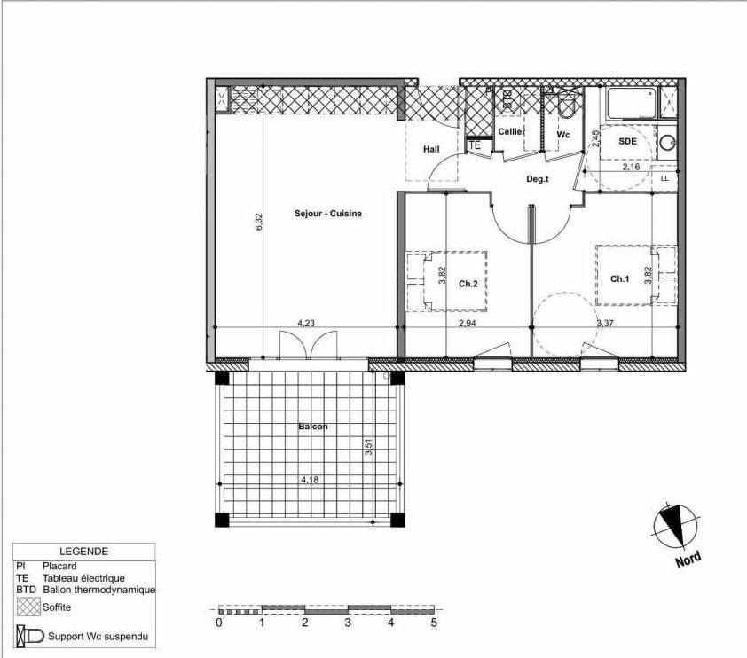 Plan 01A102, appartement neuf type T3 au 1er étage, orienté Nord faisant 65m² du programme neuf EKINOX à Aix-en-Provence.