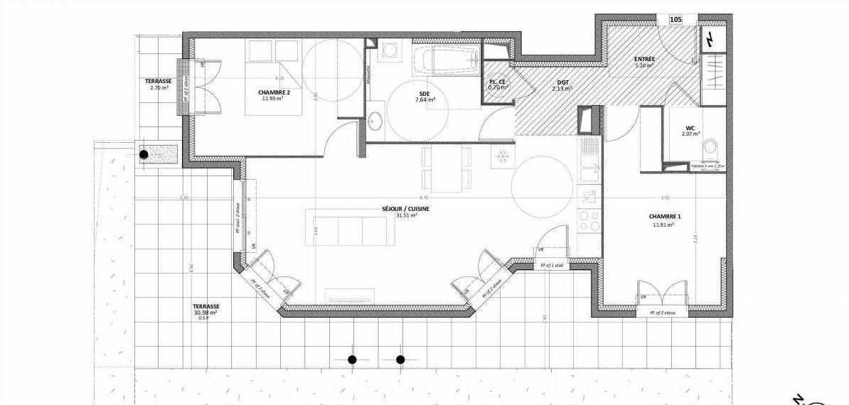 Plan 01A105, appartement neuf type T3 au Rez de chaussée, orienté Ouest faisant 73m² du programme neuf AQUAZURA à Cavalaire-sur-Mer.