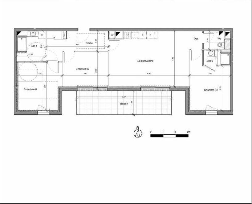 Plan 01A204, appartement neuf type T4 au 2ème étage, orienté Sud faisant 83m² du programme neuf LE CLOS SAINT-ALDRIC à Le Mans.