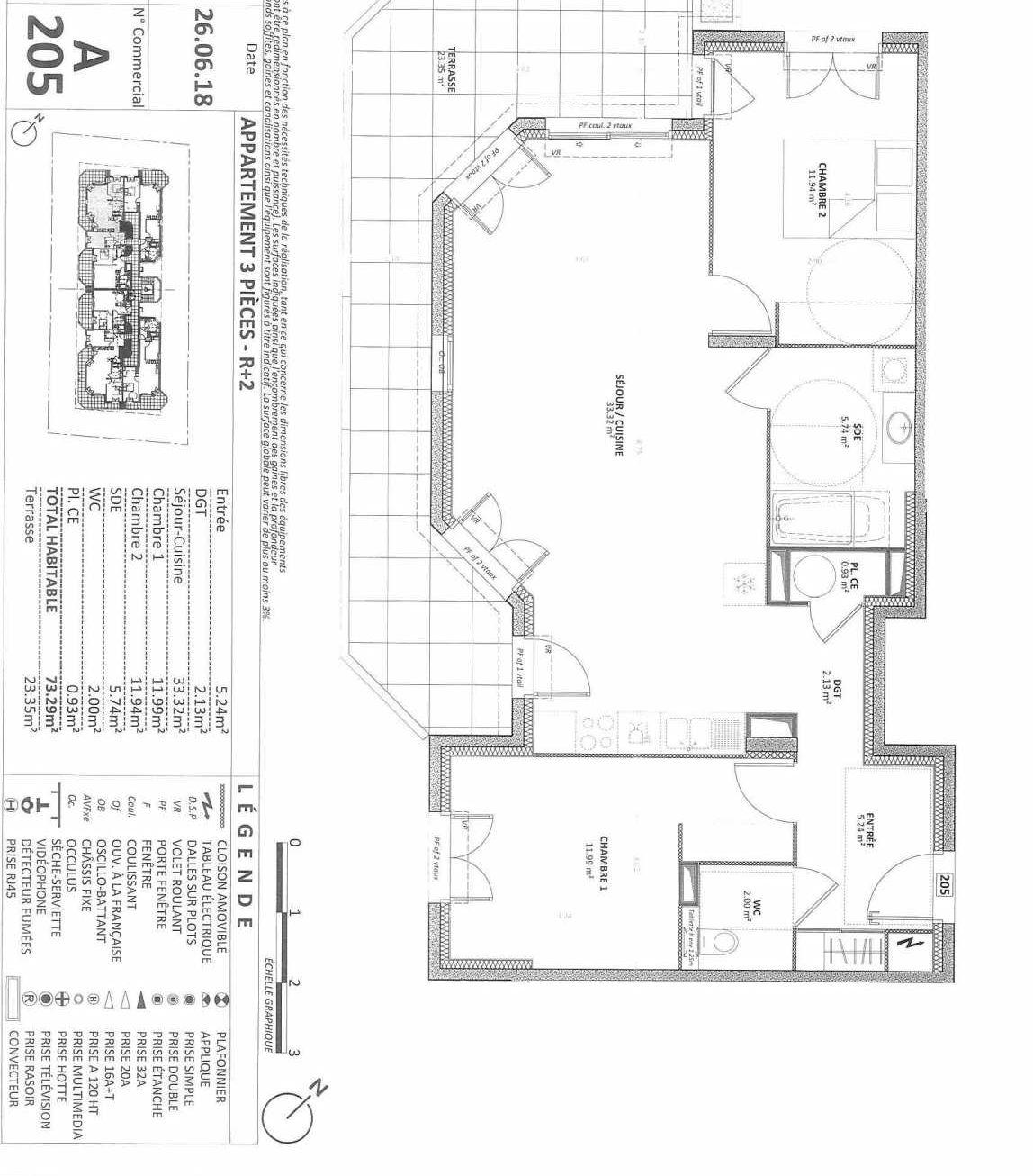 Plan 01A205, appartement neuf type T3 au Rez de chaussée, orienté Ouest faisant 73m² du programme neuf AQUAZURA à Cavalaire-sur-Mer.