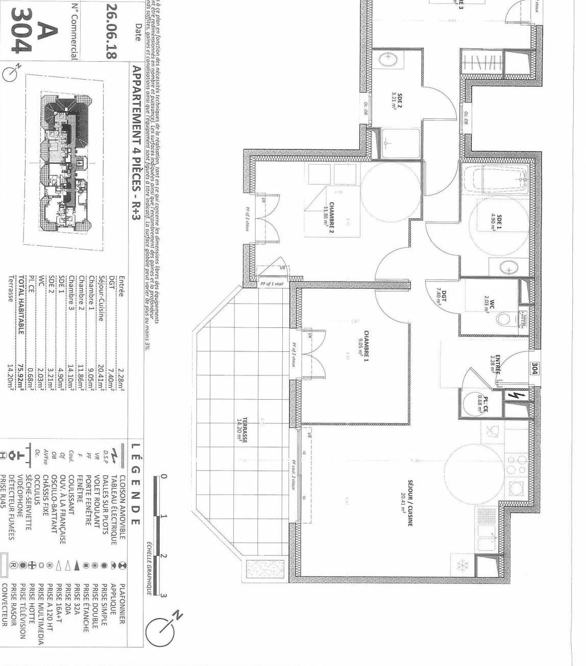 Plan 01A304, appartement neuf type T4 au Rez de chaussée, orienté Sud faisant 76m² du programme neuf AQUAZURA à Cavalaire-sur-Mer.