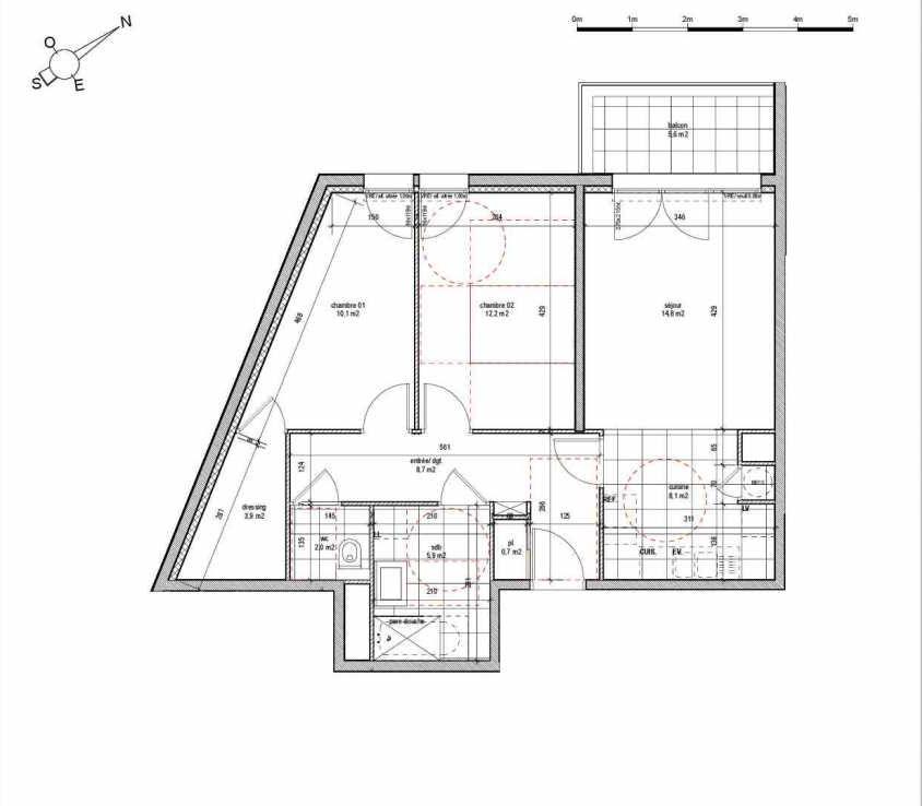 Plan 01A305, appartement neuf type T3 au 3ème étage, orienté Nord faisant 66m² du programme neuf LA PASSERELLE à Reims.