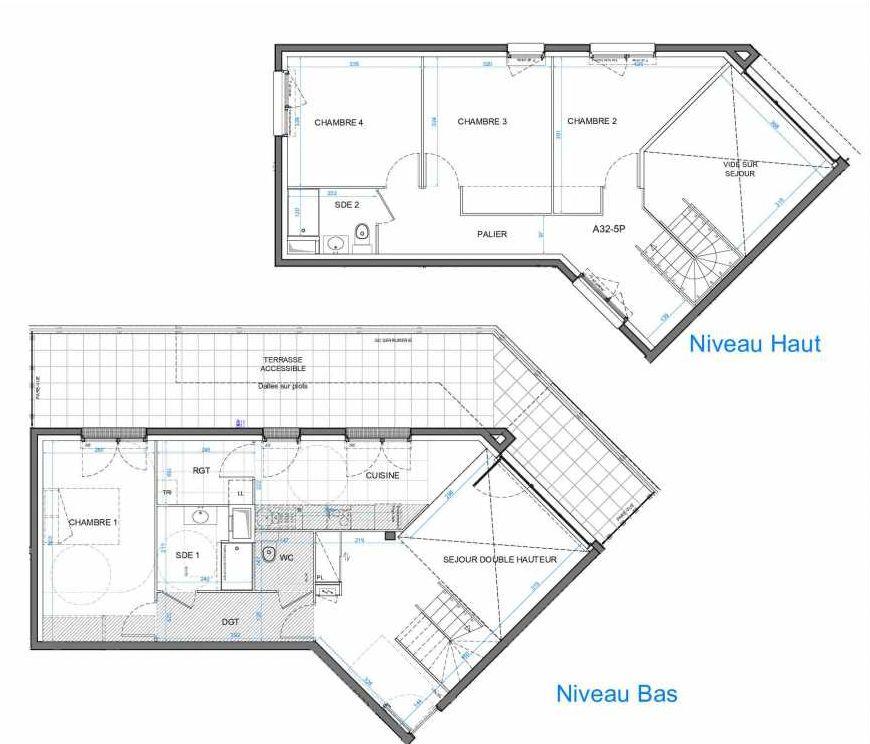 Plan 01A32, appartement neuf type T5 au 3ème étage, orienté Nord faisant 115m² du programme neuf LES JARDINS D'AMANTINE à Élancourt.