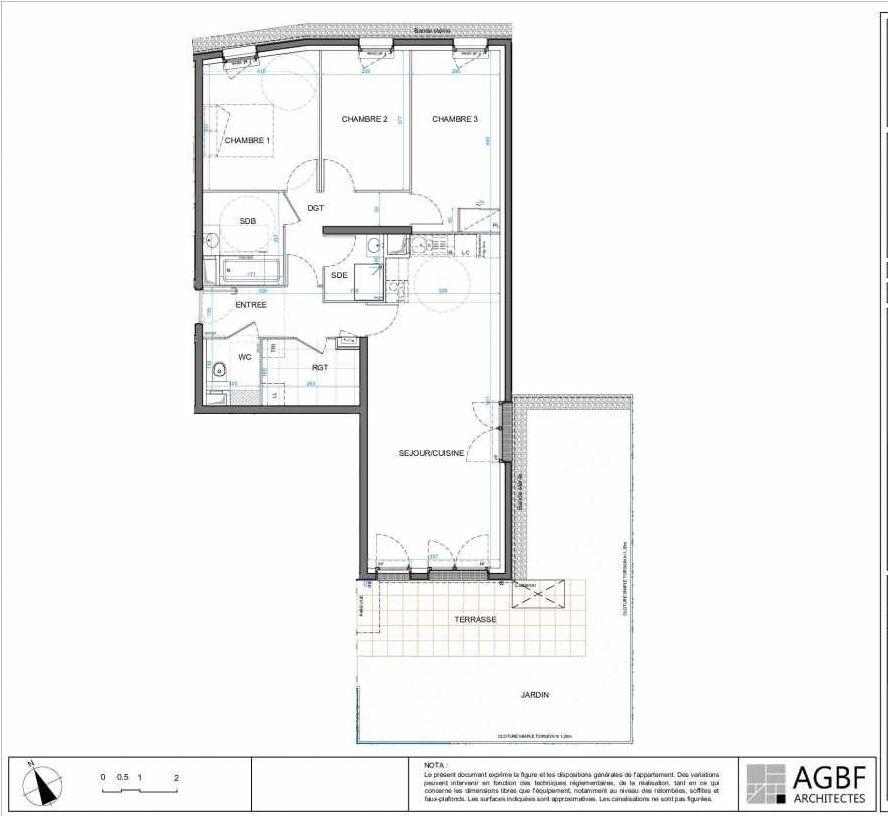 Plan 01B02, appartement neuf type T4 au Rez de chaussée, orienté Sud faisant 88m² du programme neuf LES JARDINS D'AMANTINE à Élancourt.
