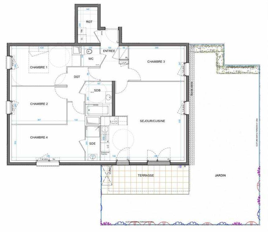 Plan 01B04, appartement neuf type T5 au Rez de chaussée, orienté Sud faisant 99m² du programme neuf LES JARDINS D'AMANTINE à Élancourt.