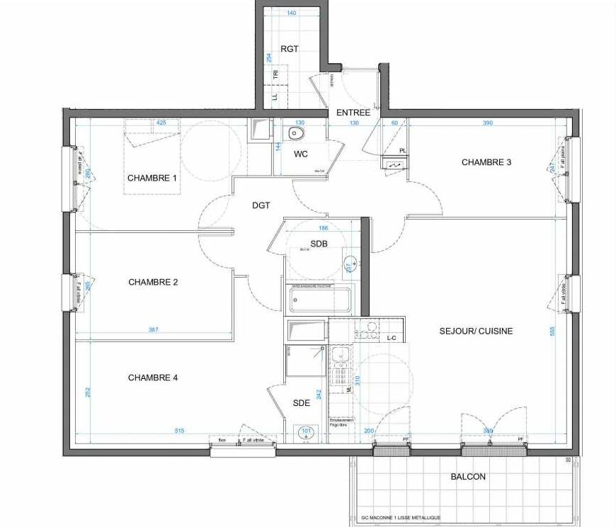 Plan 01B15, appartement neuf type T5 au 1er étage, orienté Sud faisant 99m² du programme neuf LES JARDINS D'AMANTINE à Élancourt.