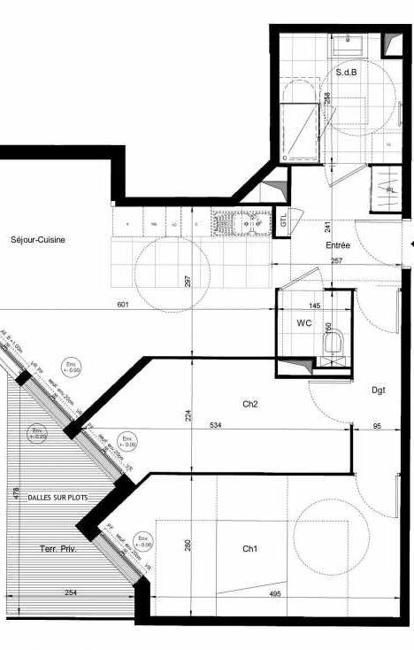 Plan recadré du lot neuf du programme neuf Résidence de l'Orangerie