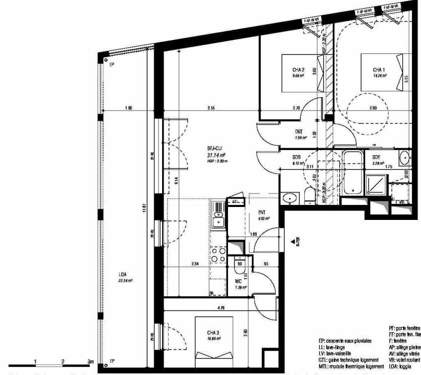 Plan 01C702, appartement neuf type T4 au 7ème étage, orienté Sud faisant 84m² du programme neuf PREFACE à Bordeaux.