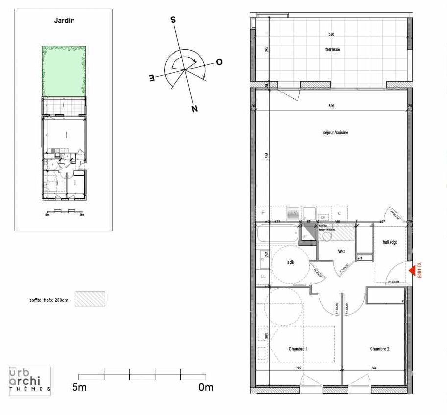 Plan 01E001, appartement neuf type T3 au Rez de chaussée, orienté Sud faisant 67m² du programme neuf ID NATURE à Annecy.