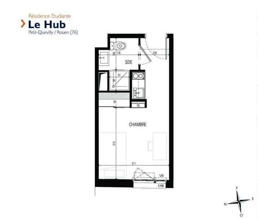 Plan 020, appartement neuf type T1 au Rez de chaussée, faisant 18m² du programme neuf Le Hub à Le Petit-Quevilly.