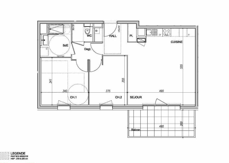 Plan 020214, appartement neuf type T3 au 1er étage, orienté Sud faisant 62m² du programme neuf Plein'R à Clermont-Ferrand.