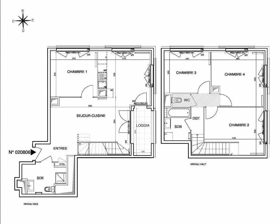 Plan 020806, appartement neuf type T5 au 8ème étage, orienté Nord faisant 101m² du programme neuf Coeur de ville {Hall Botanik & Métropolitain} - Bo à Bobigny.