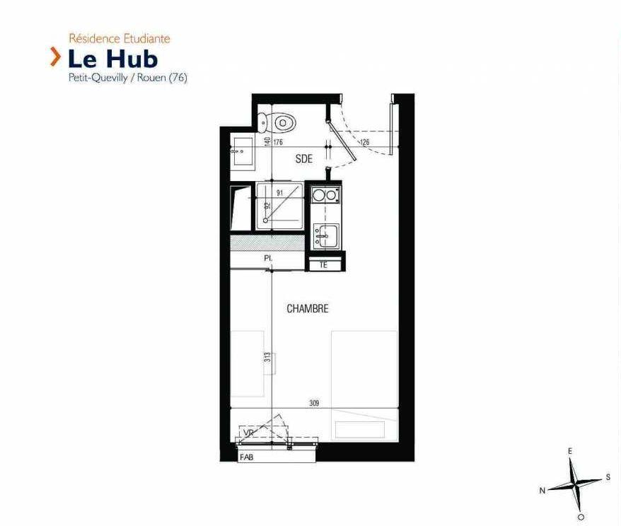 Plan 021, appartement neuf type T1 au Rez de chaussée, faisant 18m² du programme neuf Le Hub à Le Petit-Quevilly.