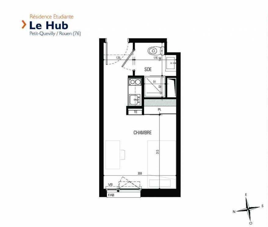 Plan 022, appartement neuf type T1 au Rez de chaussée, faisant 18m² du programme neuf Le Hub à Le Petit-Quevilly.