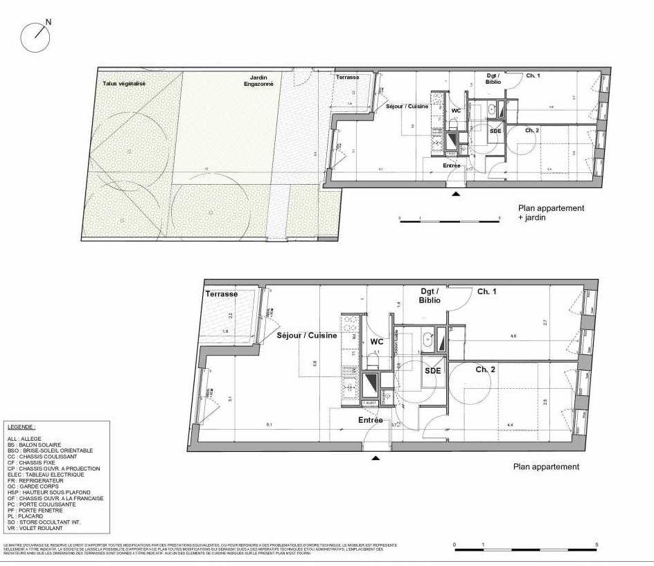 Plan 023, appartement neuf type T3 au Rez de chaussée, orienté Sud faisant 66m² du programme neuf Juste une question de feeling à Bordeaux.