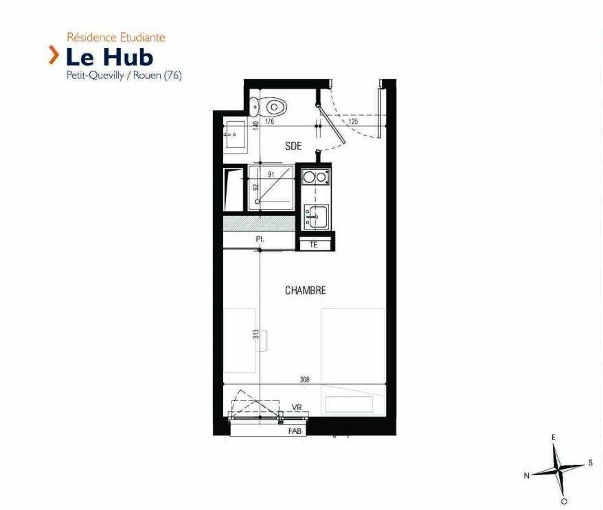 Plan 023, appartement neuf type T1 au Rez de chaussée, faisant 18m² du programme neuf Le Hub à Le Petit-Quevilly.