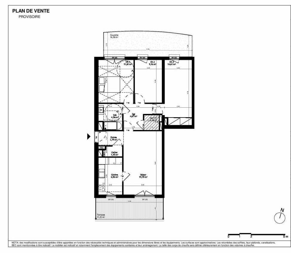 Plan 024I02, appartement neuf type T4 au Rez de chaussée, orienté Nord faisant 77m² du programme neuf L'ENVOL à Ostwald.