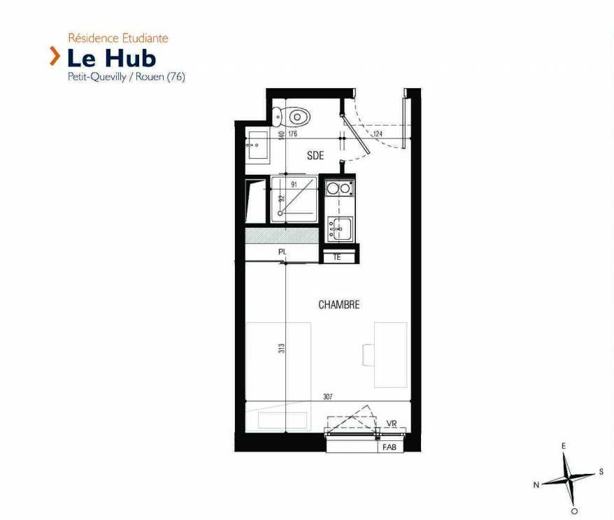 Plan 025, appartement neuf type T1 au Rez de chaussée, faisant 18m² du programme neuf Le Hub à Le Petit-Quevilly.
