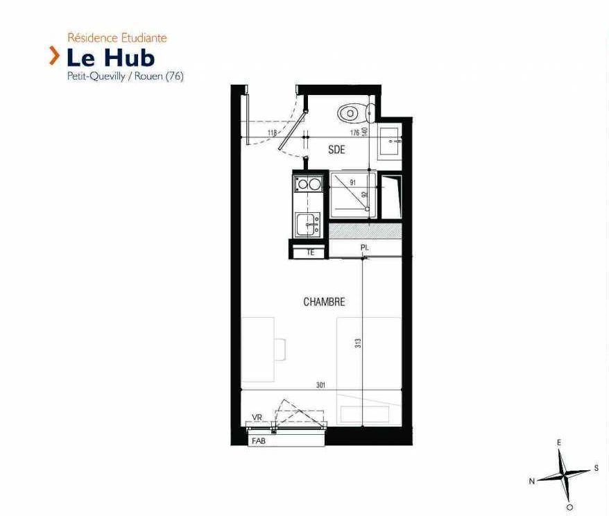 Plan 026, appartement neuf type T1 au Rez de chaussée, faisant 17m² du programme neuf Le Hub à Le Petit-Quevilly.