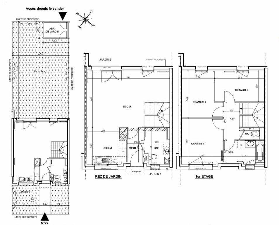 Plan 027, appartement neuf type T4 au Rez de chaussée, orienté Sud faisant 83m² du programme neuf BEAU SEJOUR à Tourcoing.