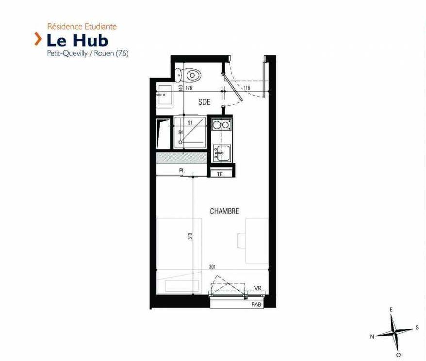 Plan 027, appartement neuf type T1 au Rez de chaussée, faisant 17m² du programme neuf Le Hub à Le Petit-Quevilly.