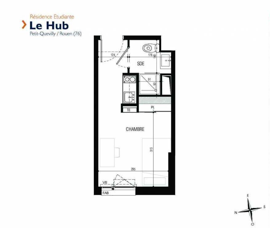 Plan 028, appartement neuf type T1 au Rez de chaussée, faisant 18m² du programme neuf Le Hub à Le Petit-Quevilly.