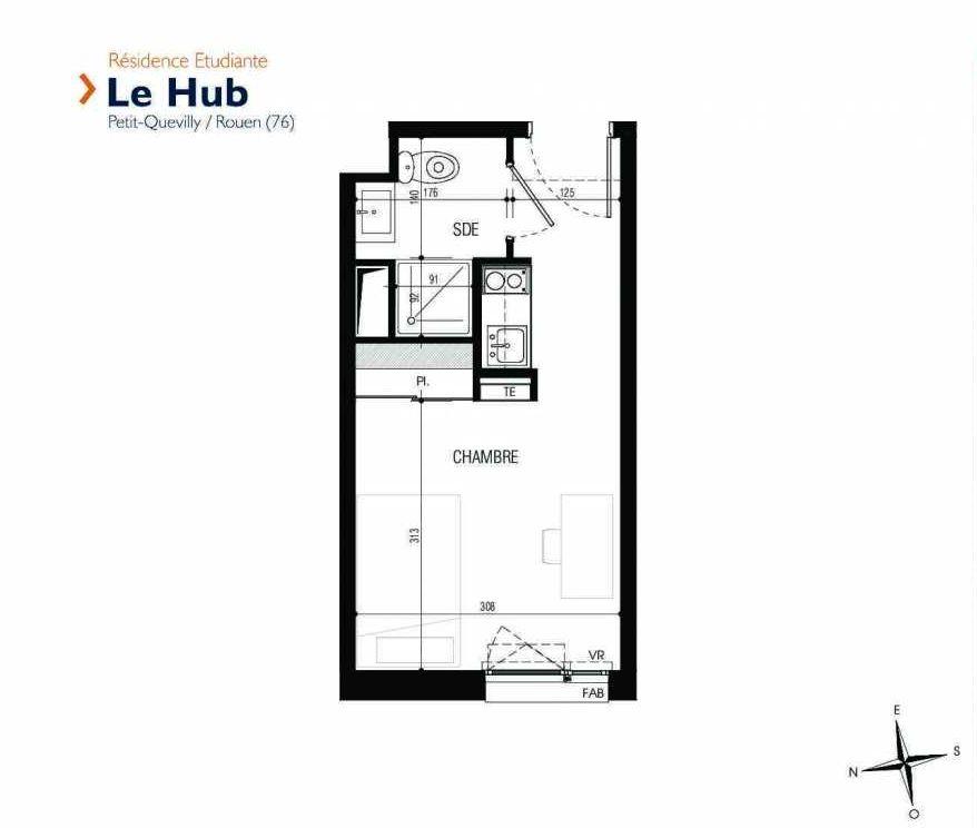 Plan 029, appartement neuf type T1 au Rez de chaussée, faisant 18m² du programme neuf Le Hub à Le Petit-Quevilly.
