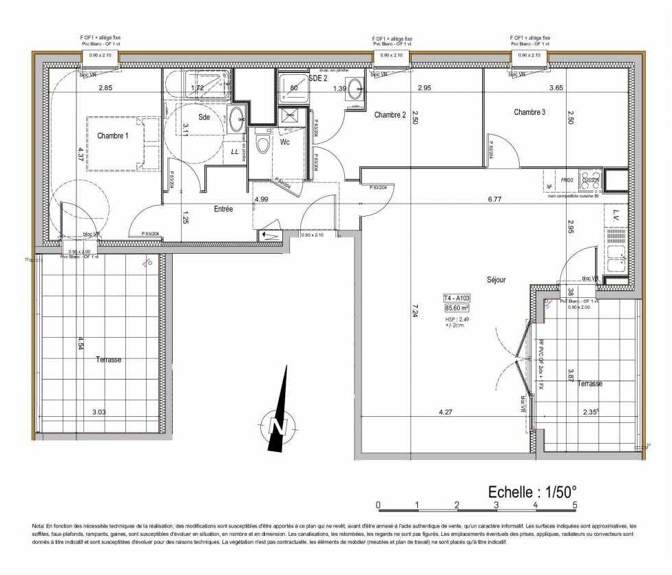 Plan 02A103, appartement neuf type T4 au 1er étage, orienté Est faisant 86m² du programme neuf PASSION VANNES à Vannes.