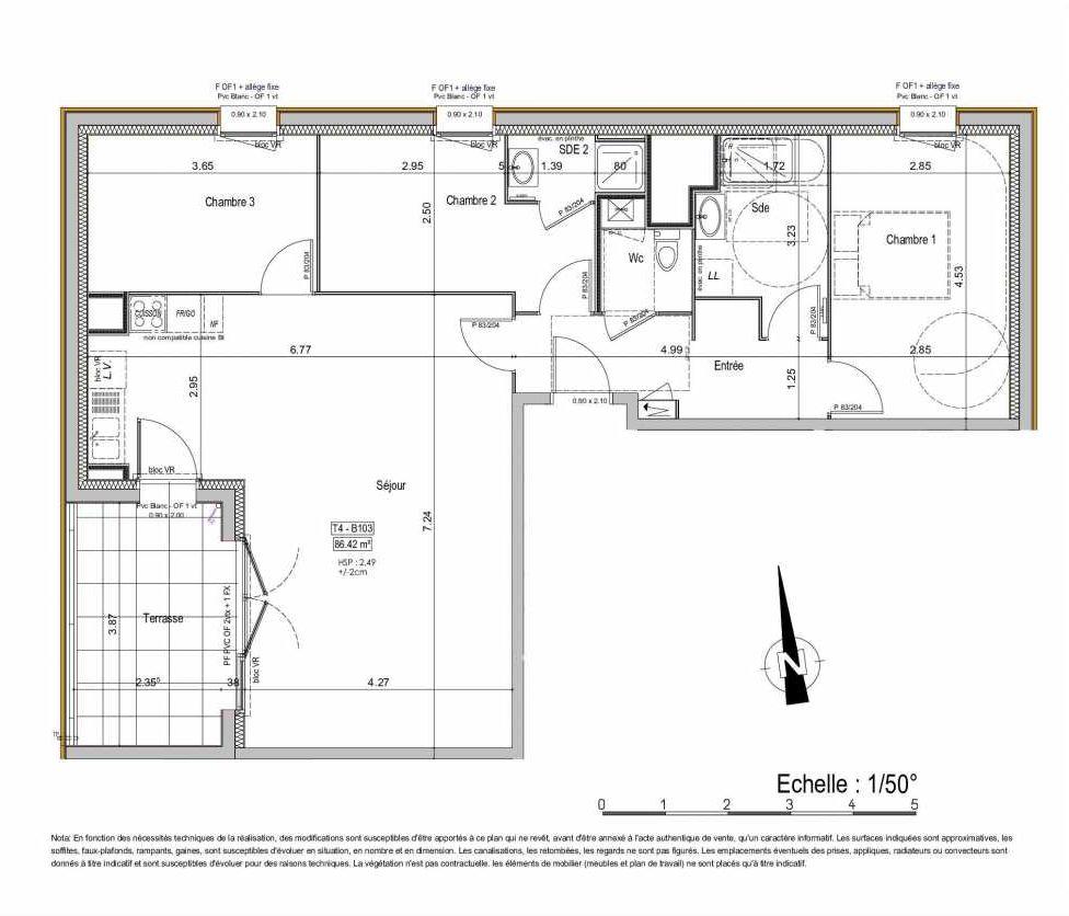 Plan 02B103, appartement neuf type T4 au 1er étage, orienté Ouest faisant 87m² du programme neuf PASSION VANNES à Vannes.