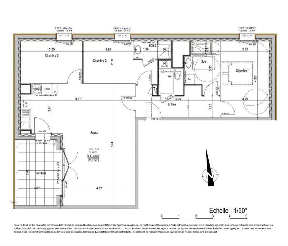 Plan 02C103, appartement neuf type T4 au 1er étage, orienté Ouest faisant 87m² du programme neuf PASSION VANNES à Vannes.