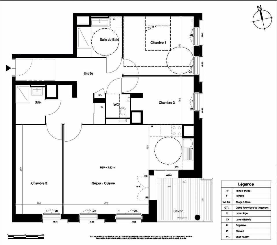 Plan 02C121, appartement neuf type T4 au Rez de chaussée, orienté Sud faisant 90m² du programme neuf VILLENCIEL à Villeurbanne.