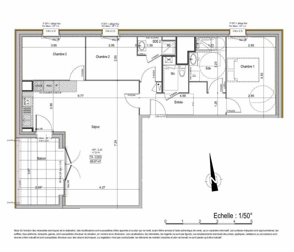 Plan 02C203, appartement neuf type T4 au 2ème étage, orienté Ouest faisant 87m² du programme neuf PASSION VANNES à Vannes.