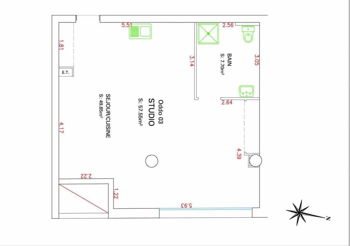 Plan 03, appartement neuf type T1 au Rez de chaussée, orienté Sud faisant 58m² du programme neuf VILLAGE MEDITERRANEE à Marseille.