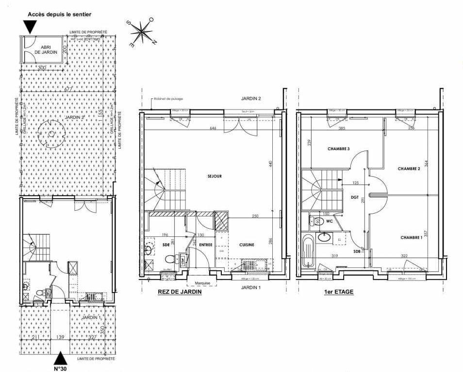 Plan 030, appartement neuf type T4 au Rez de chaussée, orienté Sud faisant 83m² du programme neuf BEAU SEJOUR à Tourcoing.