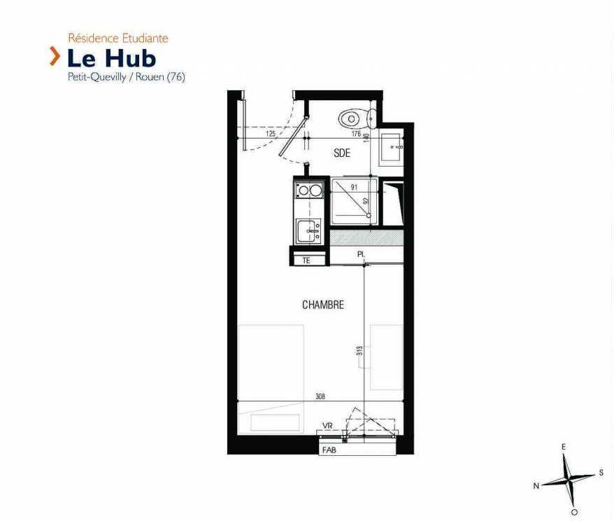 Plan 030, appartement neuf type T1 au Rez de chaussée, faisant 18m² du programme neuf Le Hub à Le Petit-Quevilly.