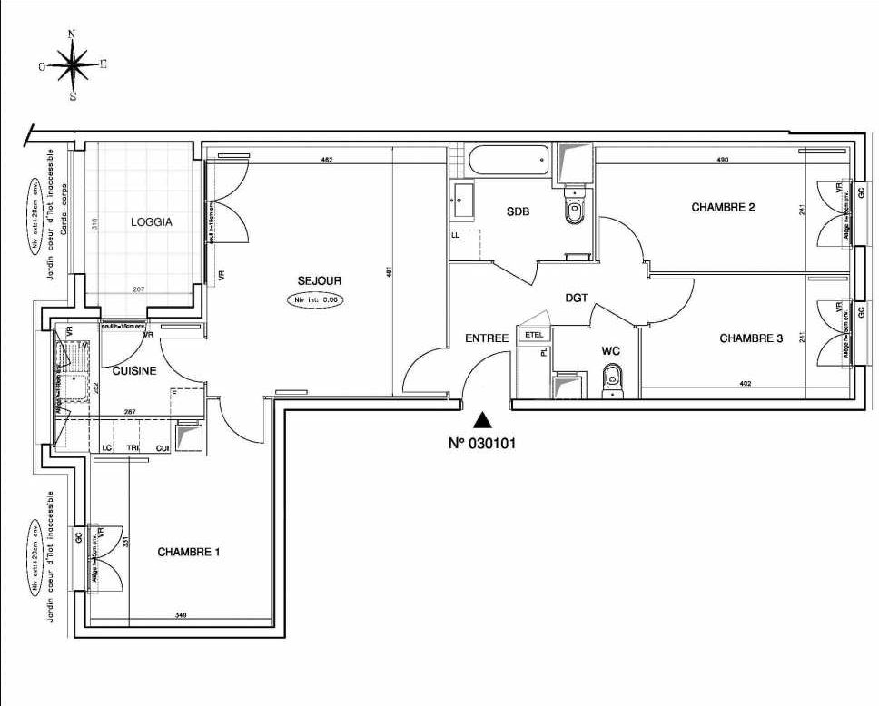 Plan 030101, appartement neuf type T4 au 1er étage, orienté Ouest faisant 78m² du programme neuf Coeur de ville {Hall Botanik & Métropolitain} - Bo à Bobigny.