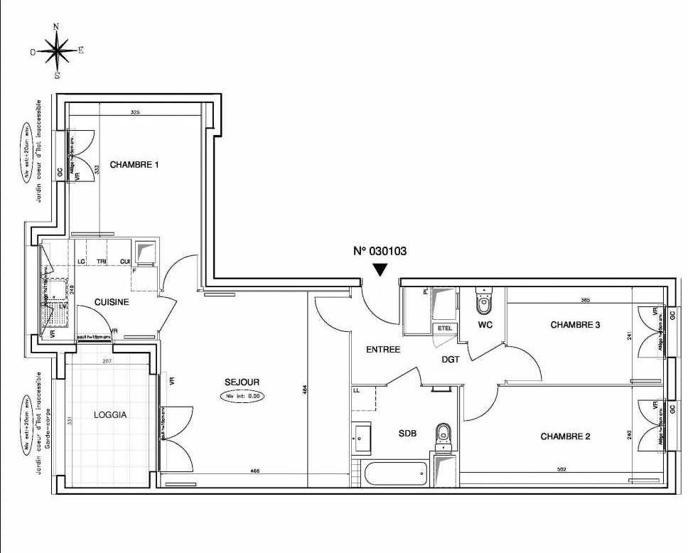 Plan 030103, appartement neuf type T4 au 1er étage, orienté Ouest faisant 77m² du programme neuf Coeur de ville {Hall Botanik & Métropolitain} - Bo à Bobigny.