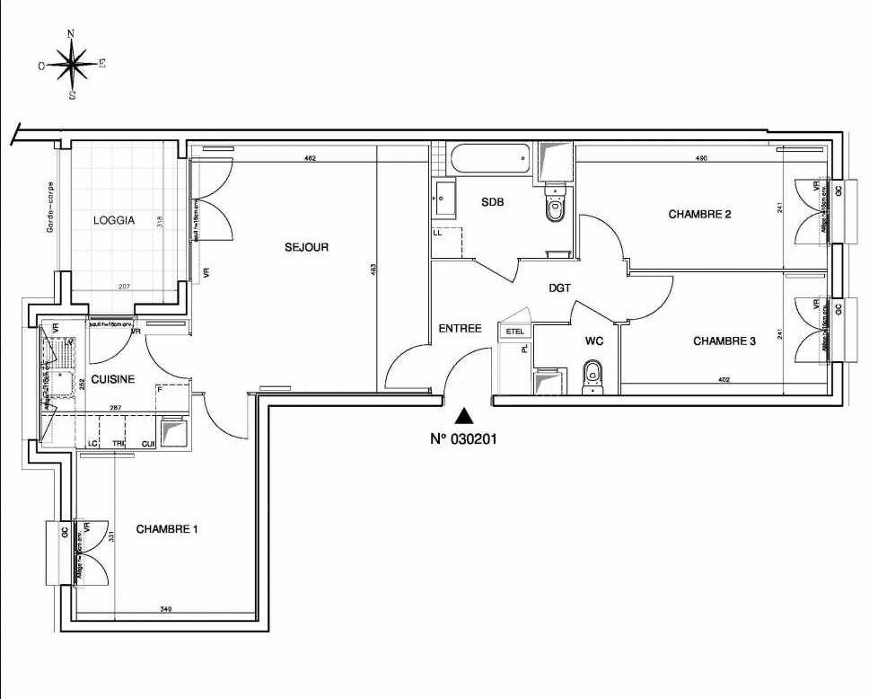 Plan 030201, appartement neuf type T4 au 2ème étage, orienté Ouest faisant 78m² du programme neuf Coeur de ville {Hall Botanik & Métropolitain} - Bo à Bobigny.
