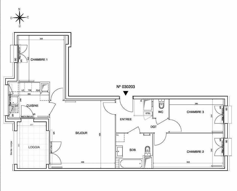 Plan 030203, appartement neuf type T4 au 2ème étage, orienté Ouest faisant 77m² du programme neuf Coeur de ville {Hall Botanik & Métropolitain} - Bo à Bobigny.