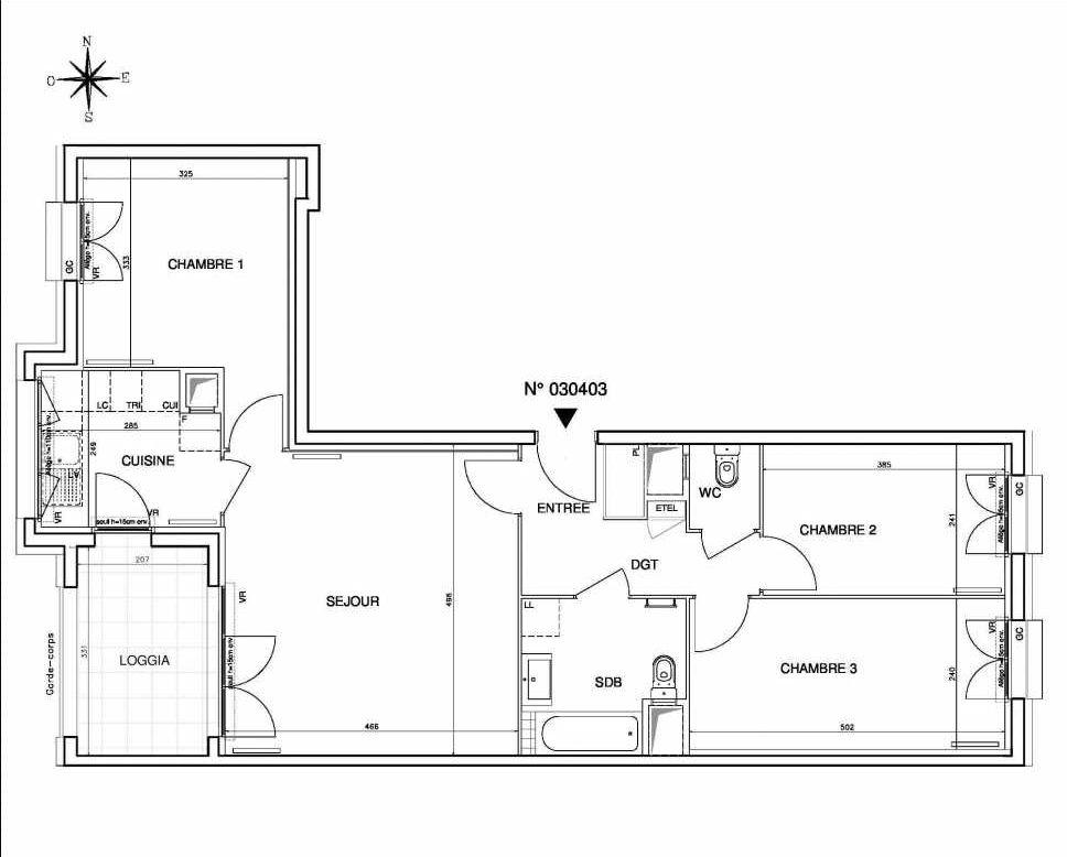 Plan 030403, appartement neuf type T4 au 4ème étage, orienté Ouest faisant 77m² du programme neuf Coeur de ville {Hall Botanik & Métropolitain} - Bo à Bobigny.