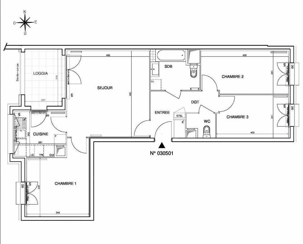 Plan 030501, appartement neuf type T4 au 5ème étage, orienté Ouest faisant 78m² du programme neuf Coeur de ville {Hall Botanik & Métropolitain} - Bo à Bobigny.