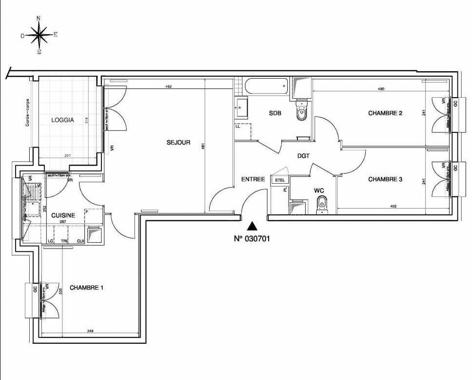 Plan 030701, appartement neuf type T4 au 7ème étage, orienté Ouest faisant 78m² du programme neuf Coeur de ville {Hall Botanik & Métropolitain} - Bo à Bobigny.