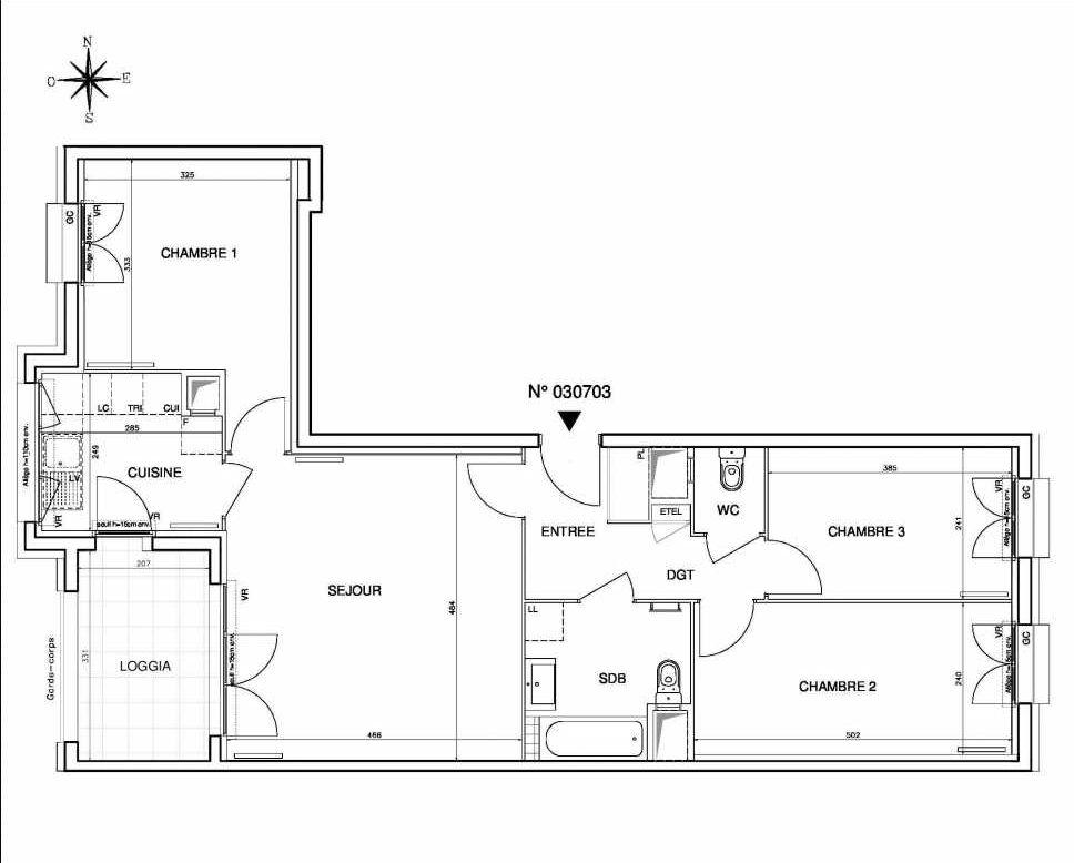 Plan 030703, appartement neuf type T4 au 7ème étage, orienté Ouest faisant 77m² du programme neuf Coeur de ville {Hall Botanik & Métropolitain} - Bo à Bobigny.