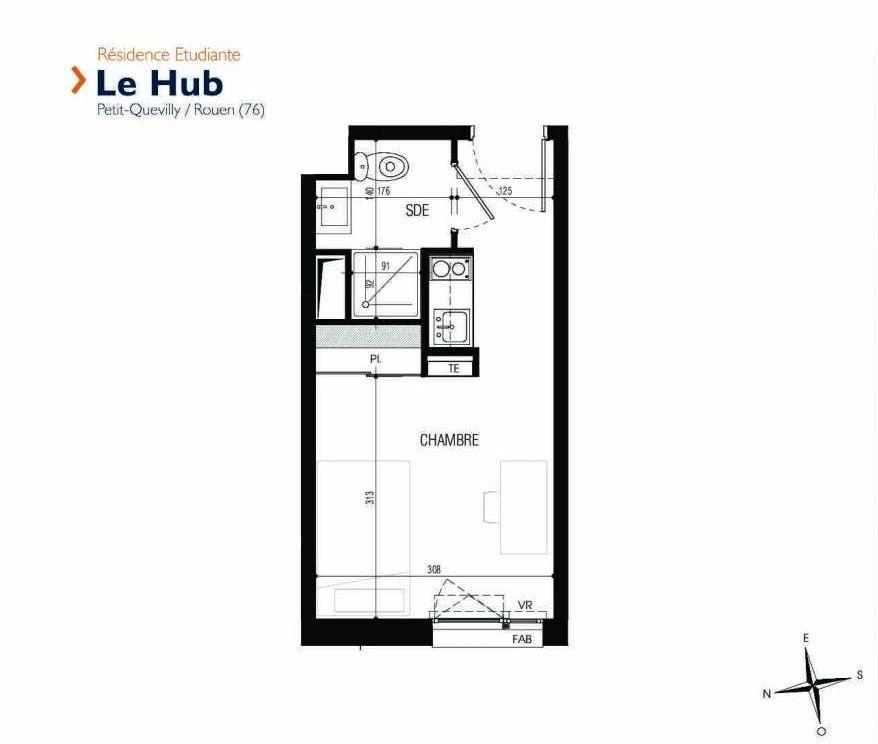 Plan 031, appartement neuf type T1 au Rez de chaussée, faisant 18m² du programme neuf Le Hub à Le Petit-Quevilly.
